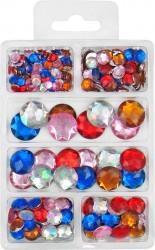 Acryl-Straßstein-Diamanten bunt sortiert flach in 6 Größen - 6,8,10,12,16 und 18mm, ca, 230Stück