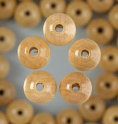 Holz-Perlen 14mm mit Bohrung 20 St, Natur