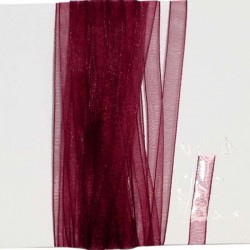 Organzaband 5 mm, bordeaux, Rolle, 50 Meter