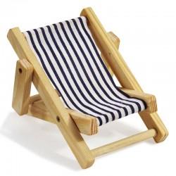 Deko-Liegestuhl ca, 10 cm blau-weiß