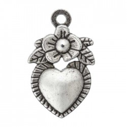Trachten-Schmuck-Anhänger-Herz mit Blume-Btl, mit  3 Stk,