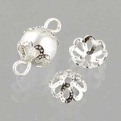 Perlkappen 8 mm, 30 Stk,, Silber