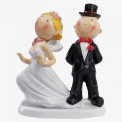 Hochzeitspaar ca, 9 cm Bräutigam auf Kleid stehend