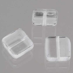 Glasperle quadrat flach, 6 mm, 40 Stk,, Dose, klar