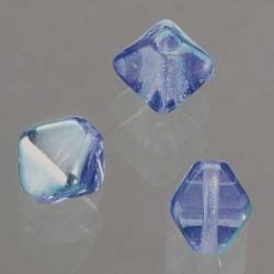 Glasperlen Doppelkegel, 6 mm, 50 Stk, in Dose, hellblau AB