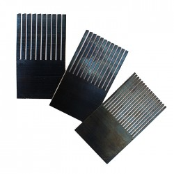 Encaustic Wellenkamm Sortiment / Stahlkamm 50 mm, 3 Stk, verschiedene Zahnbreiten