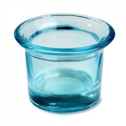 Türkises Teelicht bzw. Windlicht für eine Tischdeko im maritimen Landhausstil. Als Hochzeitsdekoration, Partydekoration oder Balkon-Deko