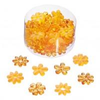 Acryl  Blüten mit Loch, Streuteile und Deko, Orange