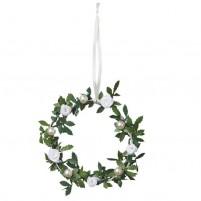 Schöne Dekoration für Hochzeit, Taufe oder Kommunion. Weißer Drahtring mit Rosenblättern, weißen Satinröschen und weißen Wachsperlen.