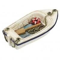 Kleines Ruderboot mit Rettungsring und Paddel ca. 7 cm groß für Dekorationen.