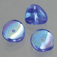 Glasperle Nuggets, 4x9 mm, 30 Stk,, Dose, blau AB