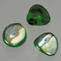 Glasperle Nuggets, 4x9 mm, 30 Stk,, Dose, dunkelgrün AB