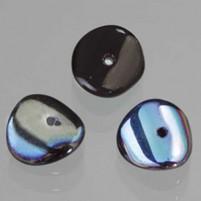 Glasperle Nuggets, 4x9 mm, 30 Stk,, Dose, jet AB