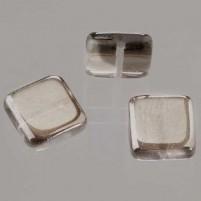 Glasperle quadrat flach, 6 mm, 40 Stk,, Dose, platinum