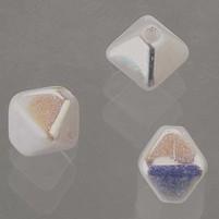 Glasperlen Doppelkegel, 6 mm, 50 Stk, in Dose, weiß AB