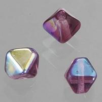 Glasperlen Doppelkegel, 6 mm, 50 Stk, in Dose, amethyst AB