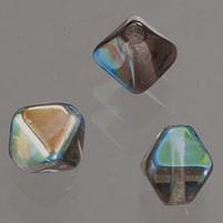 Glasperlen Doppelkegel, 6 mm, 50 Stk, in Dose, grau AB