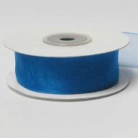 Organzaband 25 mm, Blau, Rolle mit 25 Meter