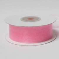 Organzaband 25 mm, Rosa, Rolle mit 25 Meter