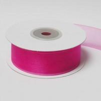 Organzaband 25 mm, Pink, Rolle mit 25 Meter