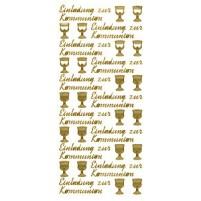"""Ziersticker """"Einladung zur Kommunion"""", gold"""